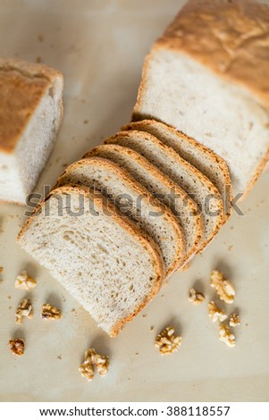 Sliced home made bread with walnuts