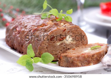 sliced homemade meatloaf.