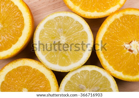 Sliced in half oranges and lemons