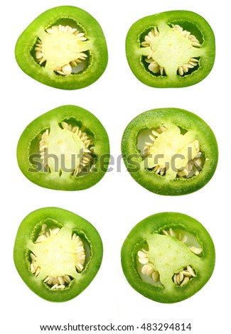 sliced Jalapeno Peppers isolated on White Background