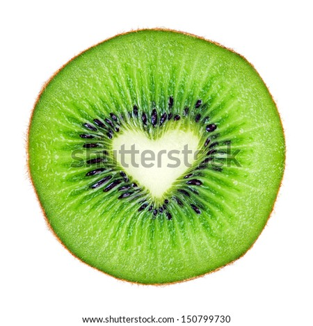 Sliced  juicy kiwi fruit macro with heart shape  over white.  - stock photo