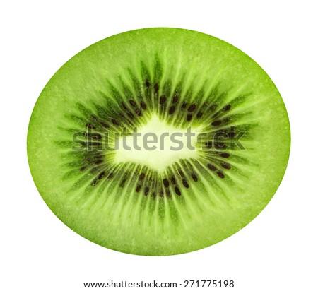 Sliced juicy kiwi isolated on white background - stock photo
