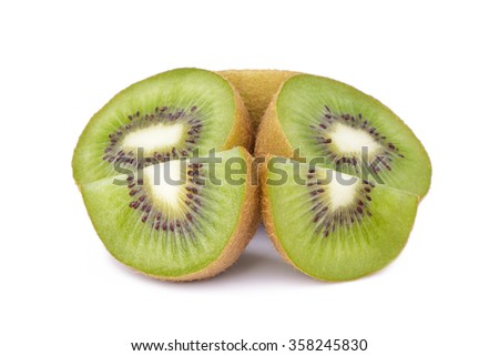 Sliced kiwi fruit isolated on white