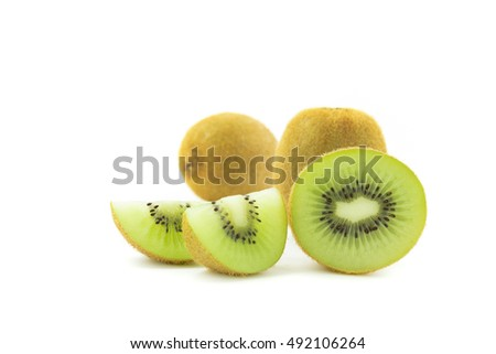 sliced Kiwi fruit isolated on white background cutout juice