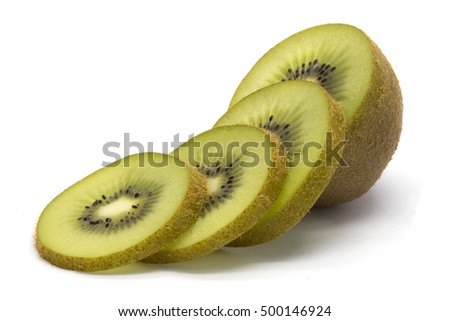 Sliced kiwifruit on white isolated background