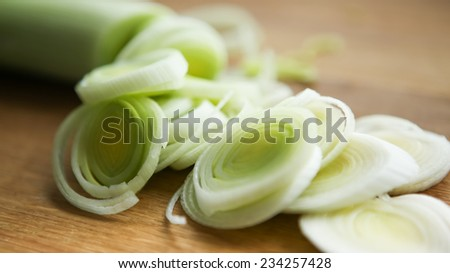 sliced leek  - stock photo