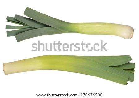 Sliced Leeks isolated on white background - stock photo
