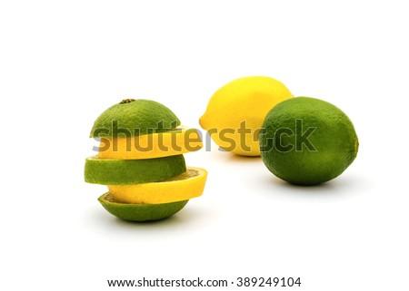 Sliced lemon and lime isolated on white background - stock photo