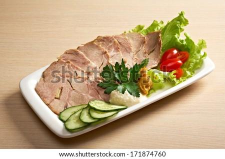 Sliced Meat.Beautiful slice meat arrangement. Shallow depth-of-field.   - stock photo