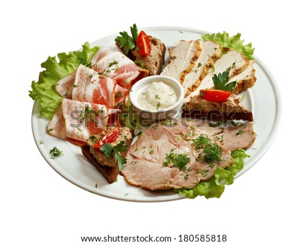 Sliced Meat.Beautiful slice meat arrangement. Shallow depth-of-field.  isolated  - stock photo