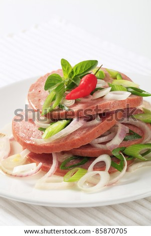 Sliced Mortadella-like sausage sprinkled with onion