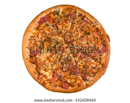 Sliced mushroom pizza isolated on the white background