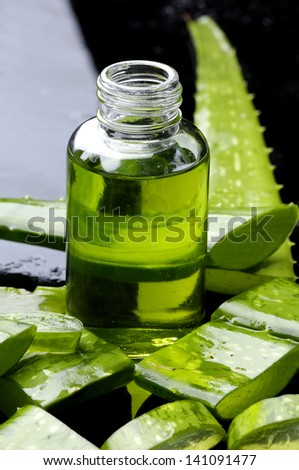 Sliced of aloe with lotion