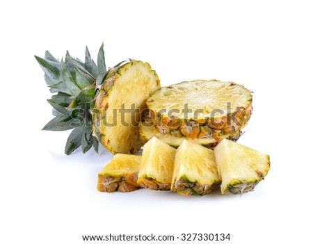 Sliced of ripe pineapple  on white  background