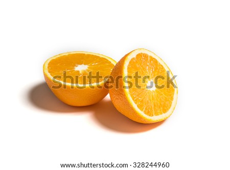 Sliced or cut orange isolated on white - stock photo