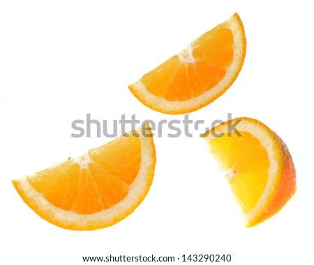 Sliced orange fruit isolated on white background - stock photo