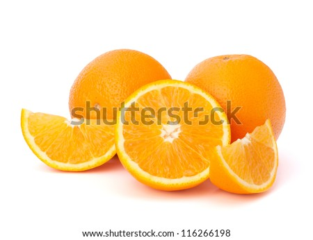 Sliced orange fruit segments  isolated on white background - stock photo