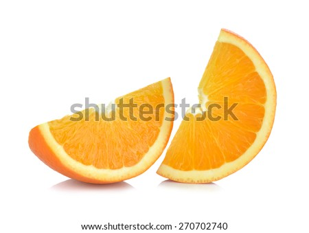 Sliced orange fruit segments isolated on white background. - stock photo