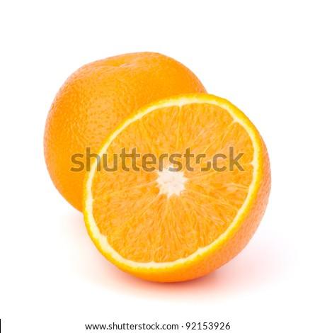 Sliced orange fruit segments  isolated on white background - stock photo