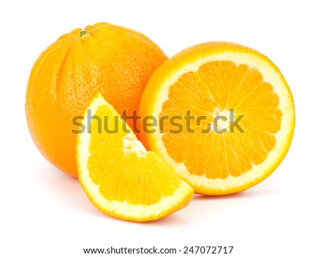 Sliced Orange fruit sliced isolated on white background