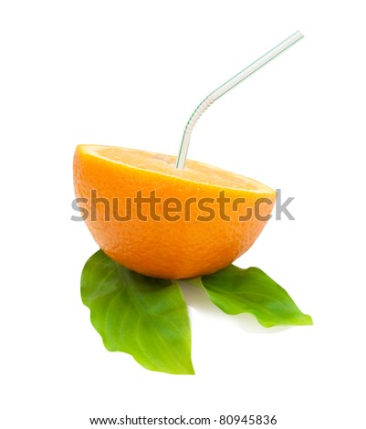 sliced orange with a puff on green leaves isolated on white background