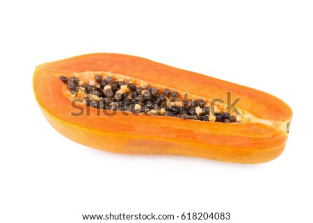 sliced papaya fruit isolated on white background.
