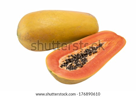 Sliced papaya isolate on white