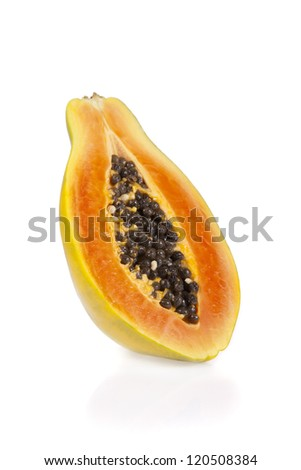 Sliced papaya isolated on a white background - stock photo