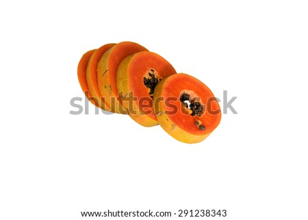 Sliced papaya isolated on white background, clipping path included.