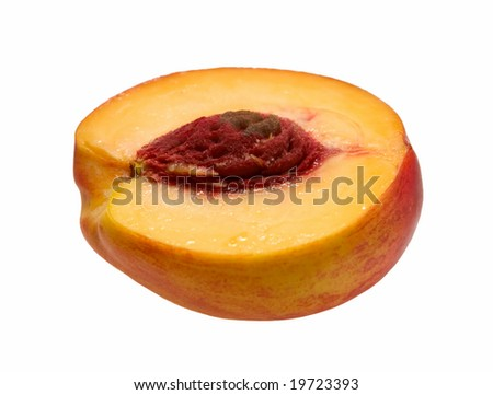 sliced peach on white background