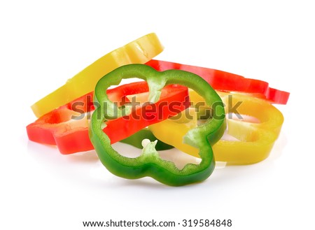 Sliced pepper isolated on white background - stock photo