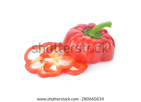 Sliced pepper(paprika) isolated on white. - stock photo