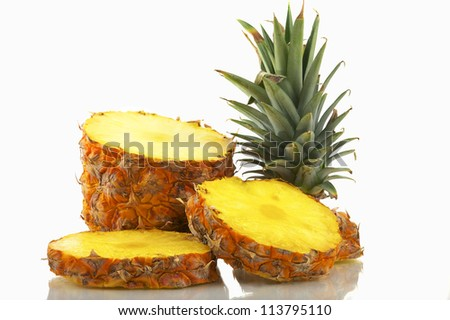Sliced Pineapple Isolated On White - stock photo
