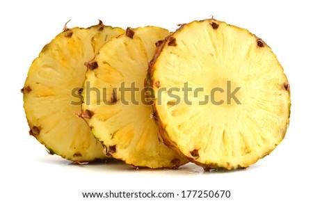 sliced pineapple on white background  - stock photo