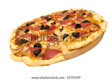 sliced pizza isolated