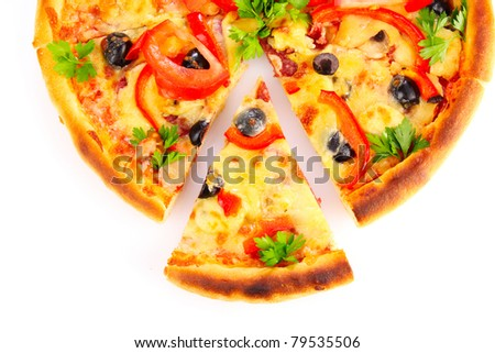 sliced ??pizza isolated on white - stock photo