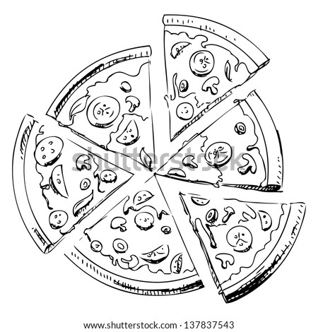 Sliced pizza isolated on white background. Hand drawing sketch illustration