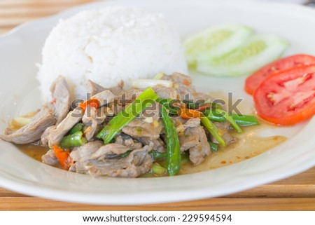 Sliced pork fried with chilies , Thai food