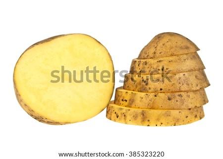 Sliced potato on a white background - stock photo