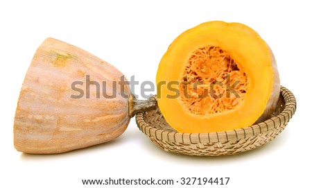 Sliced pumpkin isolated on white background