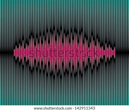 Sliced purple waveform on the green background