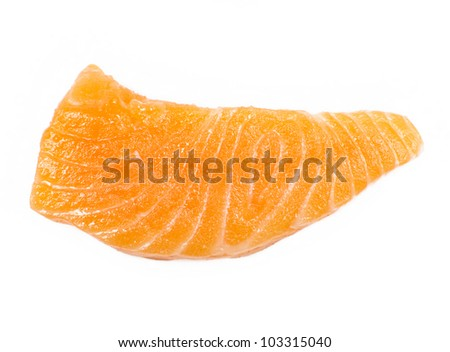 Sliced raw fatty salmon (Salmon sashimi) isolated on white background