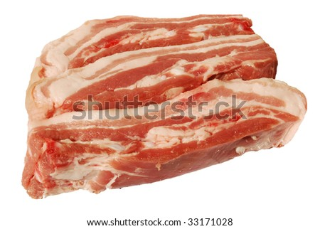 Sliced raw pork breast isolated on white background