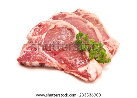 sliced raw pork loin chop isolated on white  - stock photo