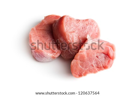 sliced raw pork meat on white background - stock photo