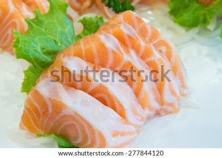 Sliced raw salmon, Salmon sashimi - stock photo