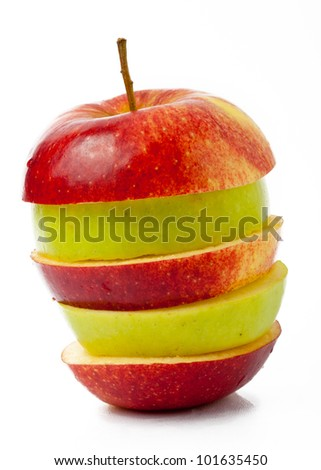 sliced red and green apple isolated on white