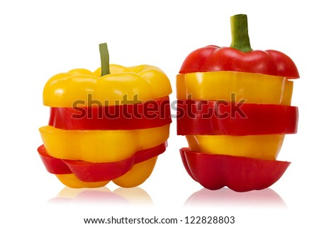 sliced red and yellow bell pepper on white background