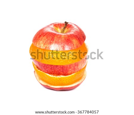 Sliced red apple and orange