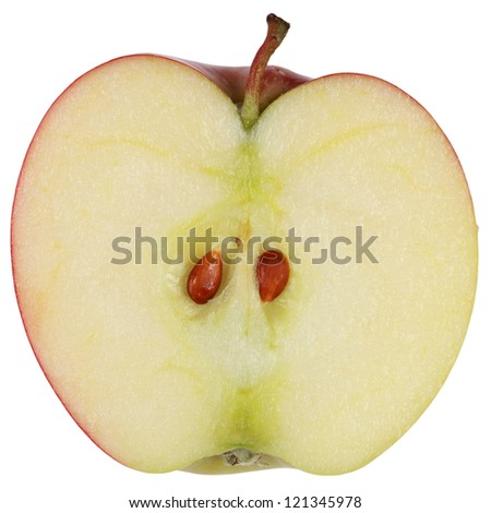 Sliced red apple isolated on white background
